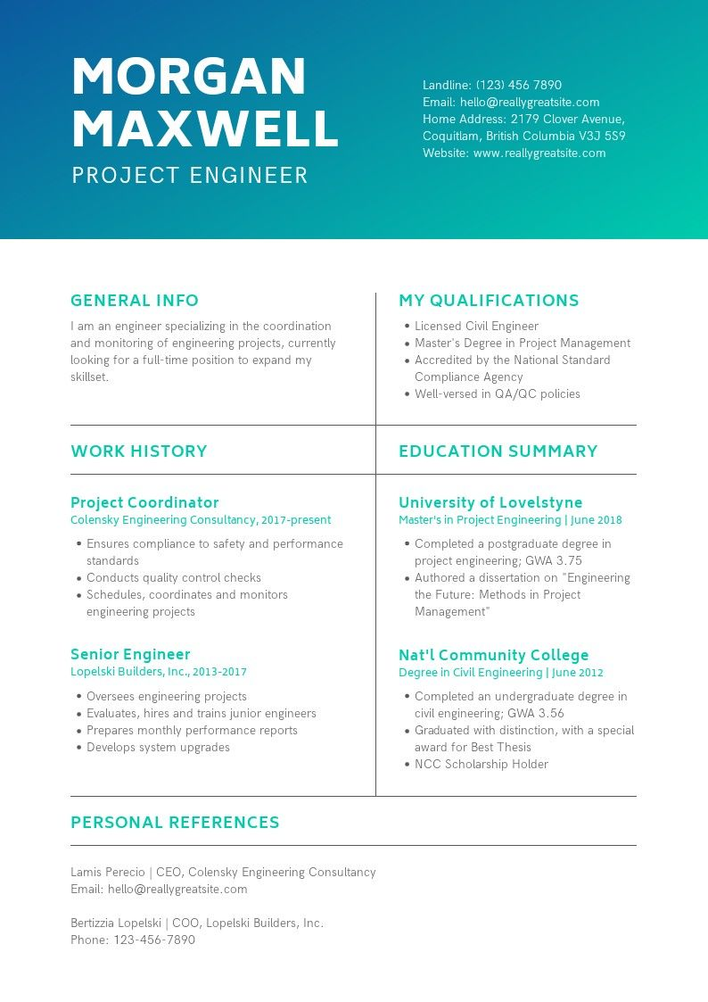 Create your own personalized resume. Engineering resume