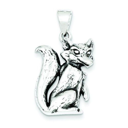 Sterling Silver Antiqued Fox Pendant