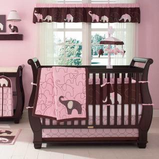Baby Girl Nursery Jungle | ... Pink U0026 Brown Safari Spotted Jungle Elephant  Baby Girl Crib Bedding Set