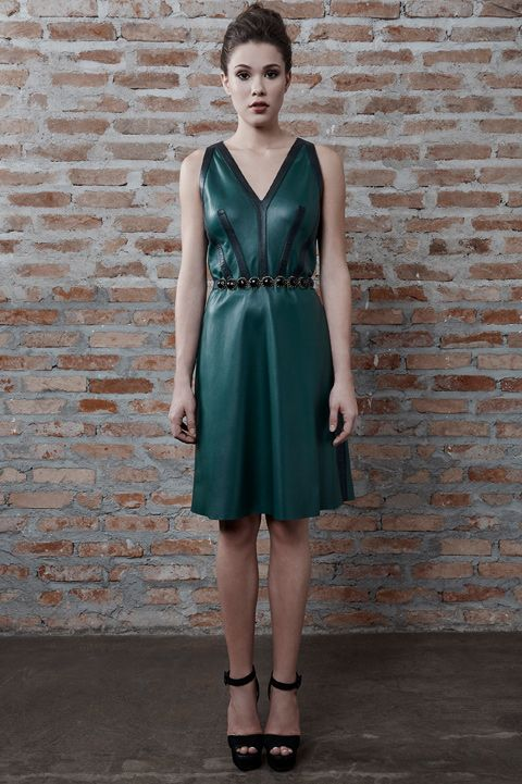 Vestido de couro verde - Patricia Motta Inverno 2016