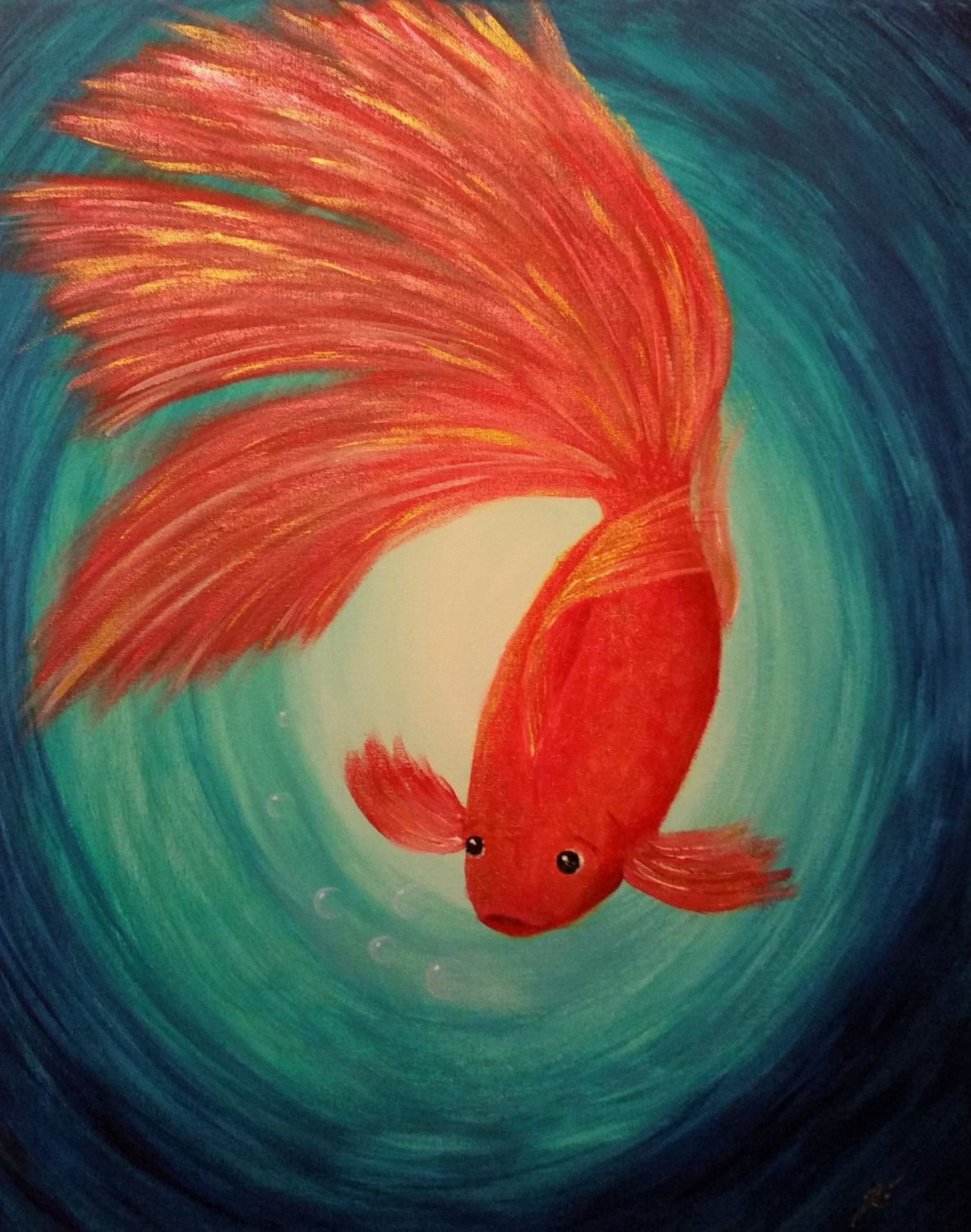 Home interiors and gifts paintings - Gold Fish Original Acrylic Painting On Canvas Fine Energy Art Best Gift Home Interior Decor