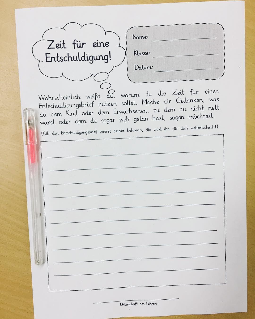 Schreiben lehrerin brief die entschuldigung an Entschuldigung für