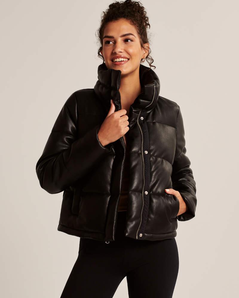 Women S Satin Mini Puffer Women S Coats Jackets Abercrombie Com In 2020 Vegan Leather Coats For Women Leather Mini