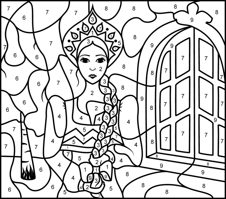Princess of Russia - Printable Color by Number Page - Hard   Crafts ...