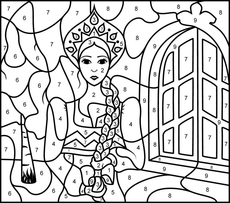 Princess Of Russia Printable Color By Number Page Hard Malen Nach Zahlen Bastelvorlagen Zum Ausdrucken Ausmalbild