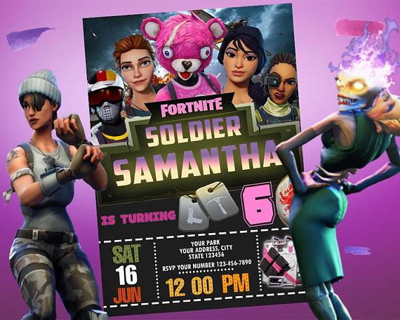 Fortnite Birthday Party Invitation for Girl, Fortnite Invite