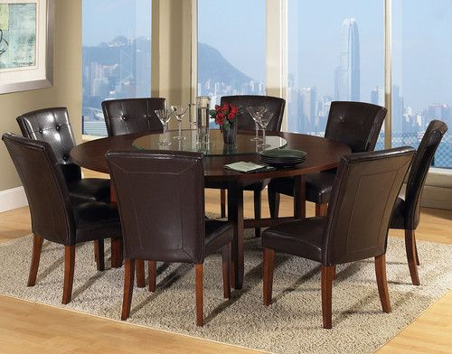 New Steve Silver Avenue 72 Round Wooden Dining Table W 8 Chairs Lazy Susan Ebay