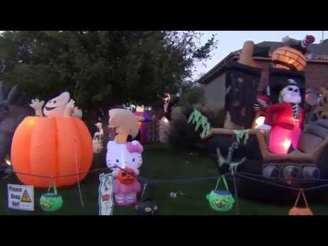 Halloween Decorations 2013 - YouTube What a fun neighborhood