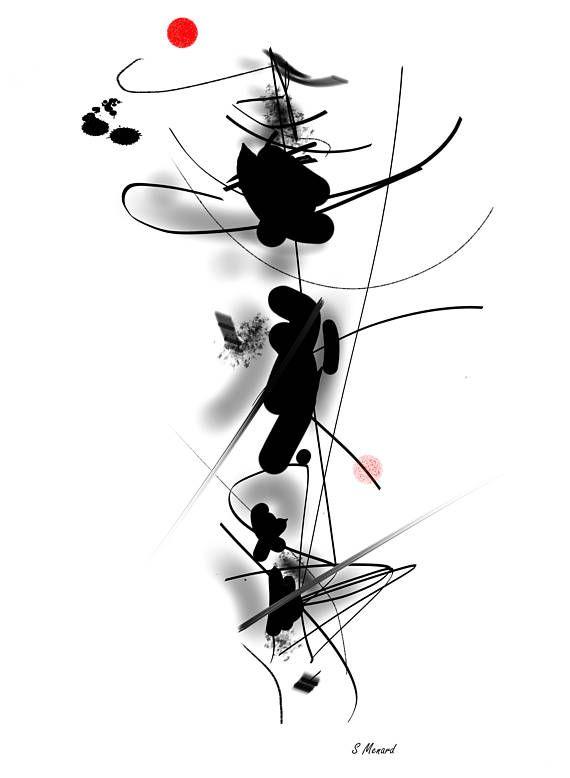 Oeuvre D Art Minimaliste Noir Blanc Rouge Telechargeable A