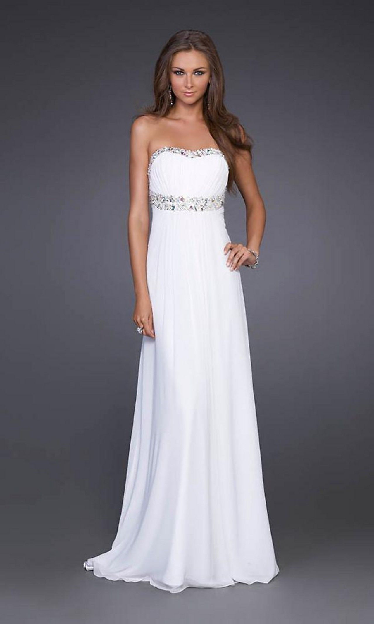 White Prom Dress La Femme, Strapless Long Gown - Simply Dresses ...