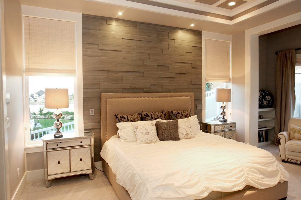 Accent Wall Ideas Bedroom Contemporary With Gray Wood Beige Bed Gray Wood Gray Accent Wall Bedroom Bedroom Accent Accent Walls In Living Room