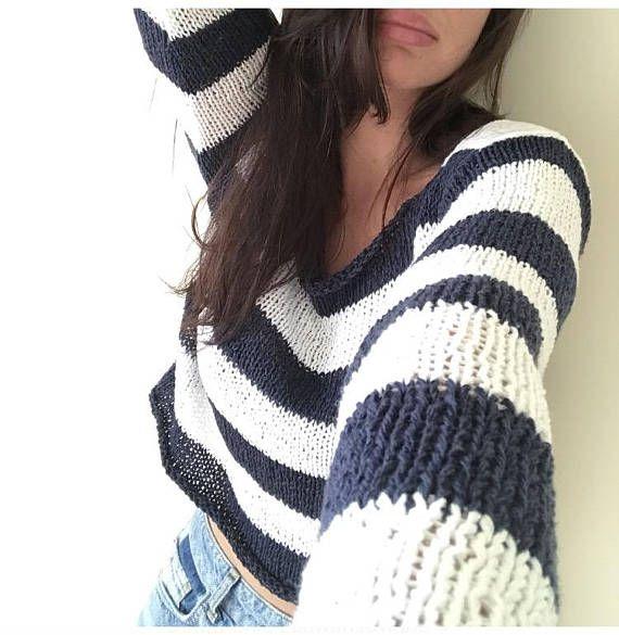 Navy White Sweater Sailor Stripes Summer Sweater Cotton ...