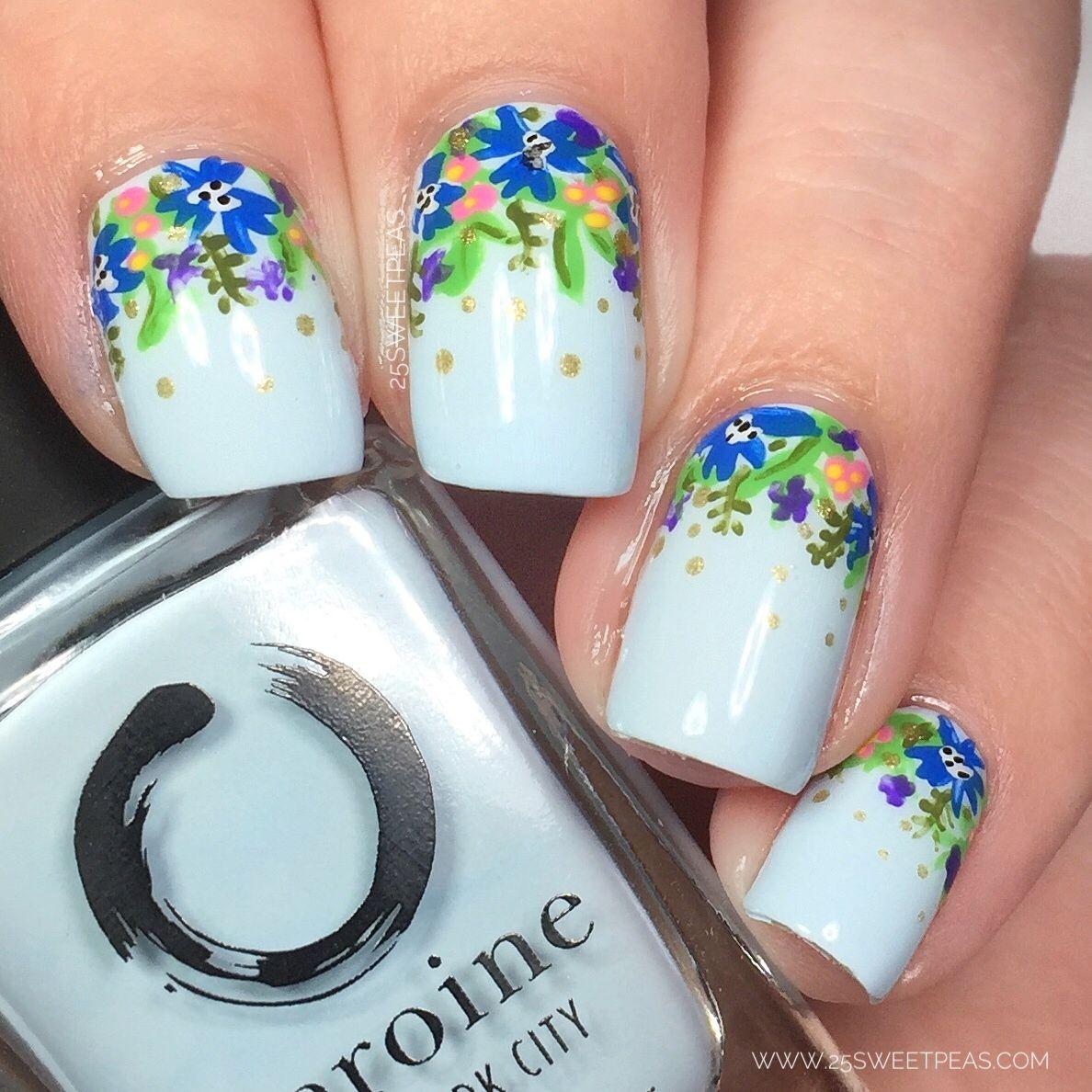 Peekablue in 2020 Floral nail art, Nail art, Nail