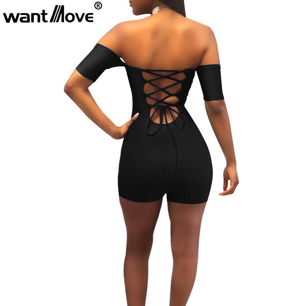 2a774a296ad Aliexpress.com   Buy Wantmove women sexy off shoulder lace up bodycon  rompers womens jumpsuit