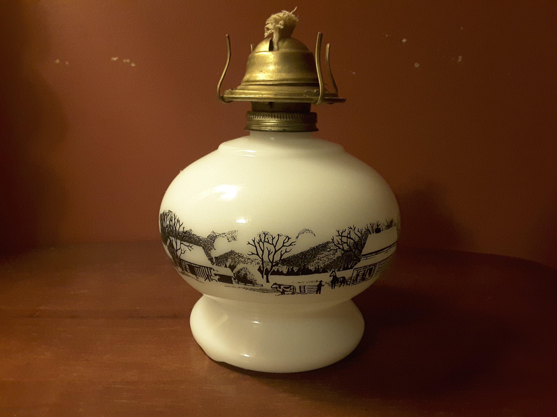 Vintage Currier And Ives Kerosene Oil Lamp Milk Glass Oil Lamp Milk Glass Oil Lamps Currier Ives