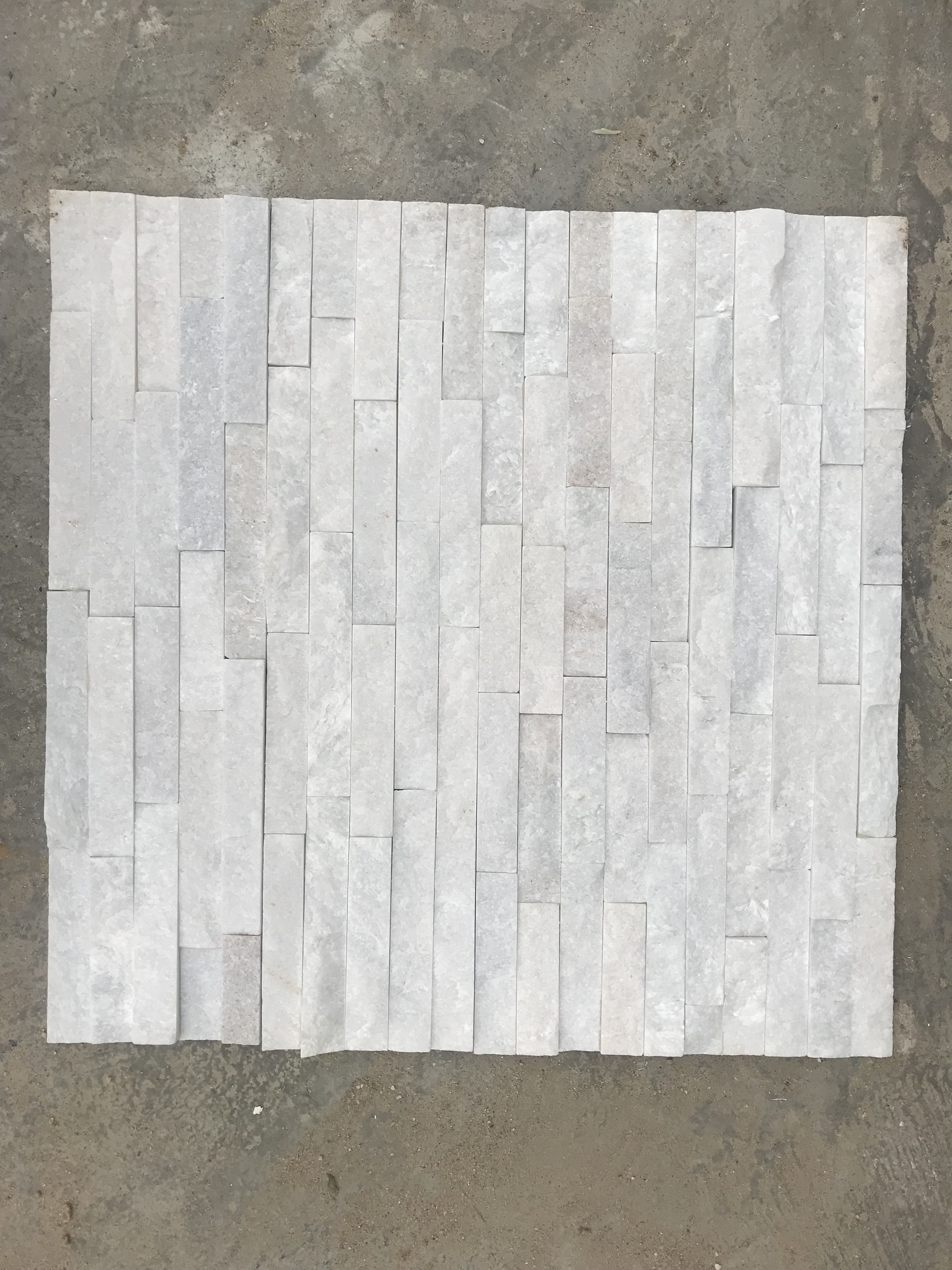 White Marble Stacked Stone Tiles Wall Interior Stone Wall Cladding