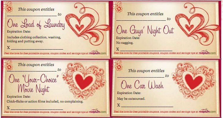 Free Printable Valentines Love Coupons  For Your Significant
