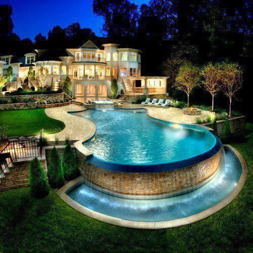Lights Gorgeous Home Pools Mansion Rich Money House Pool Bright Big Huge