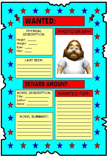 Wanted Poster Book Report or self description writing ...