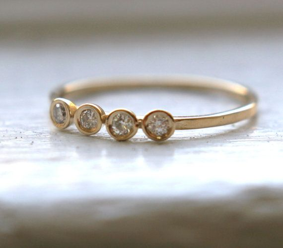 Diamond Ring 14K Gold Ring 4 Diamonds Ring Yellow Gold Ring