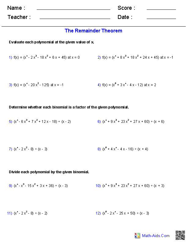 The Remainder Theorem Polynomial Functions Worksheets – Remainder Theorem Worksheet