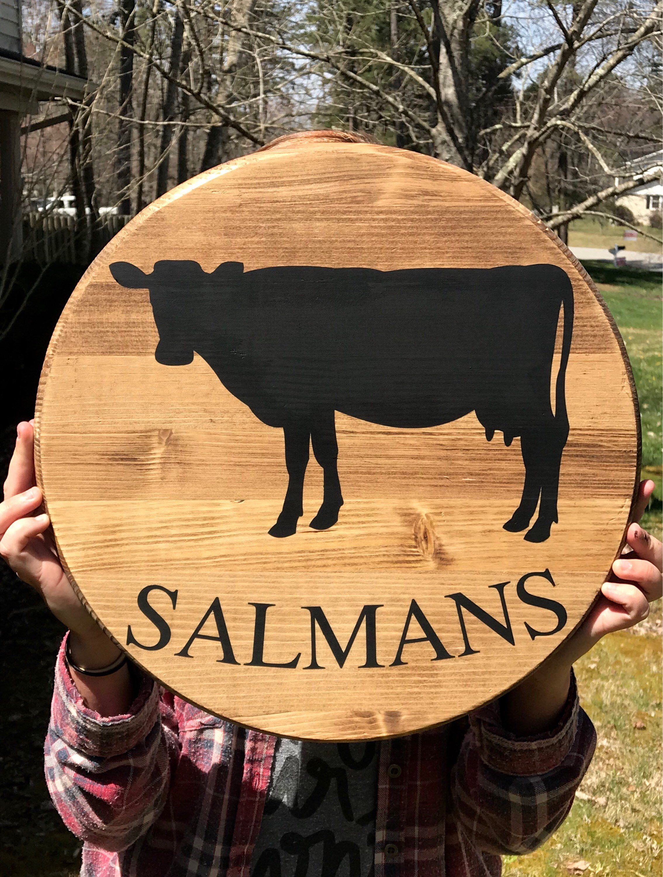 Cow last name round wood sign wall decor pinterest wood