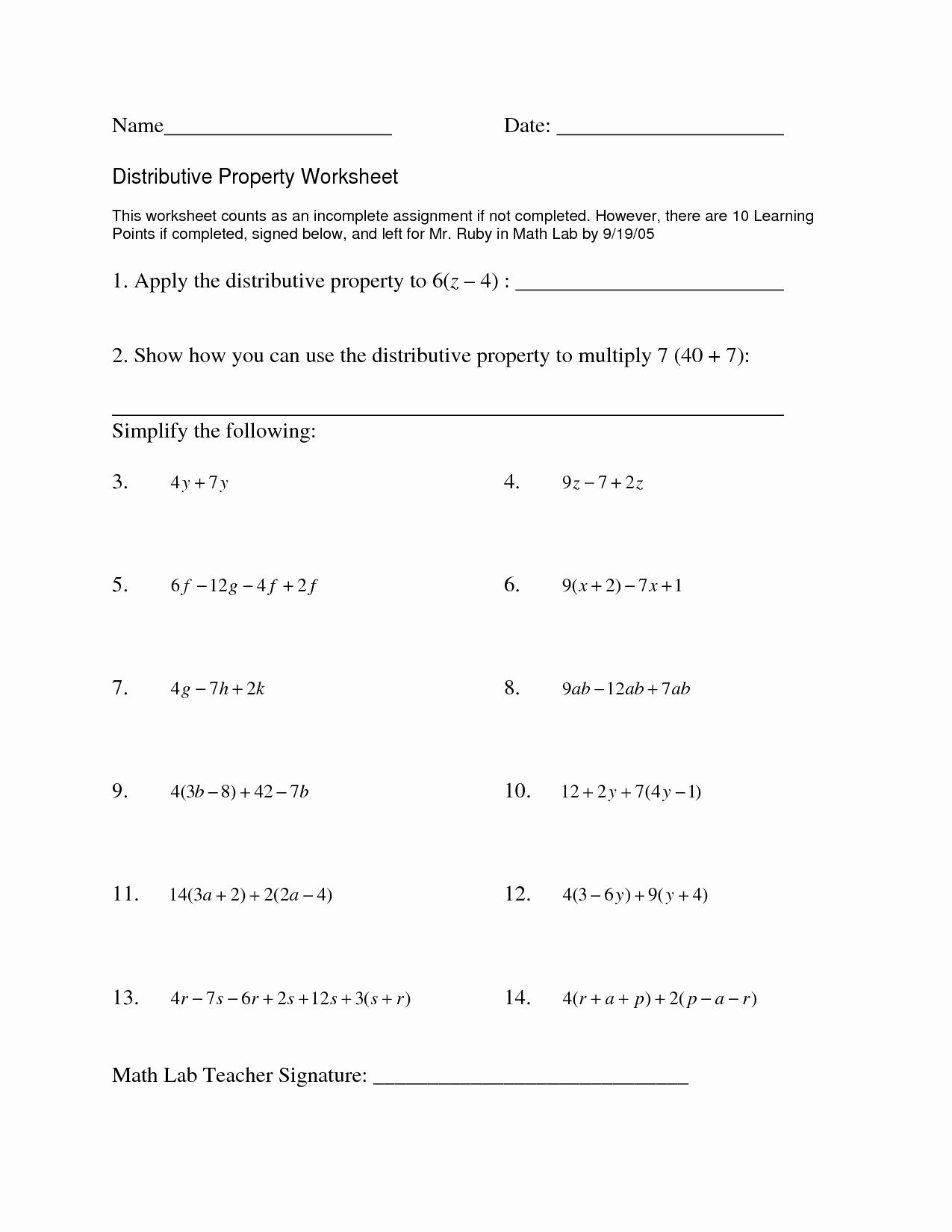Distributive Property With Variables Worksheet Unique 15