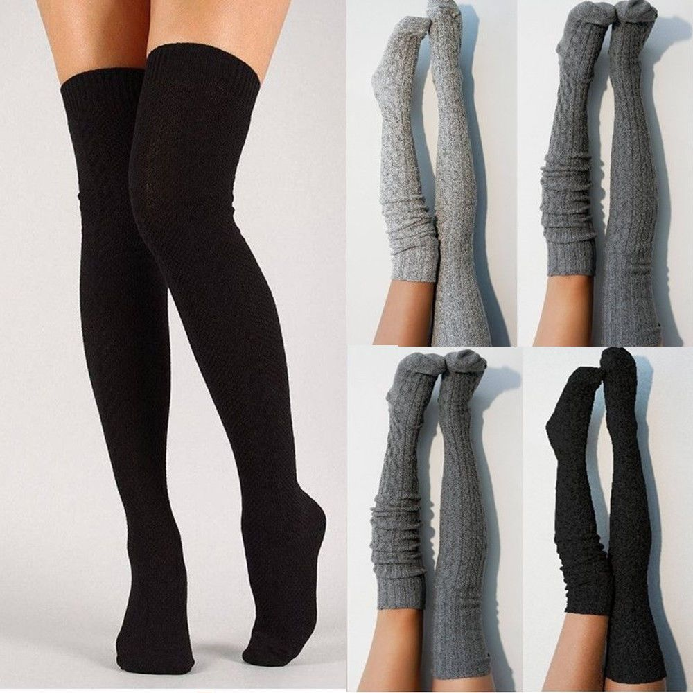 3b53798da Women Winter Warm RIbbed Warm Knit Over Knee Thigh High Stockings Socks  Tights