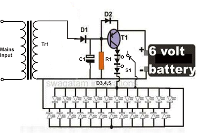 Simple Led Emergency Light Circuit Homemade Circuit Projects Led Emergency Lights Emergency Lighting Circuit Projects