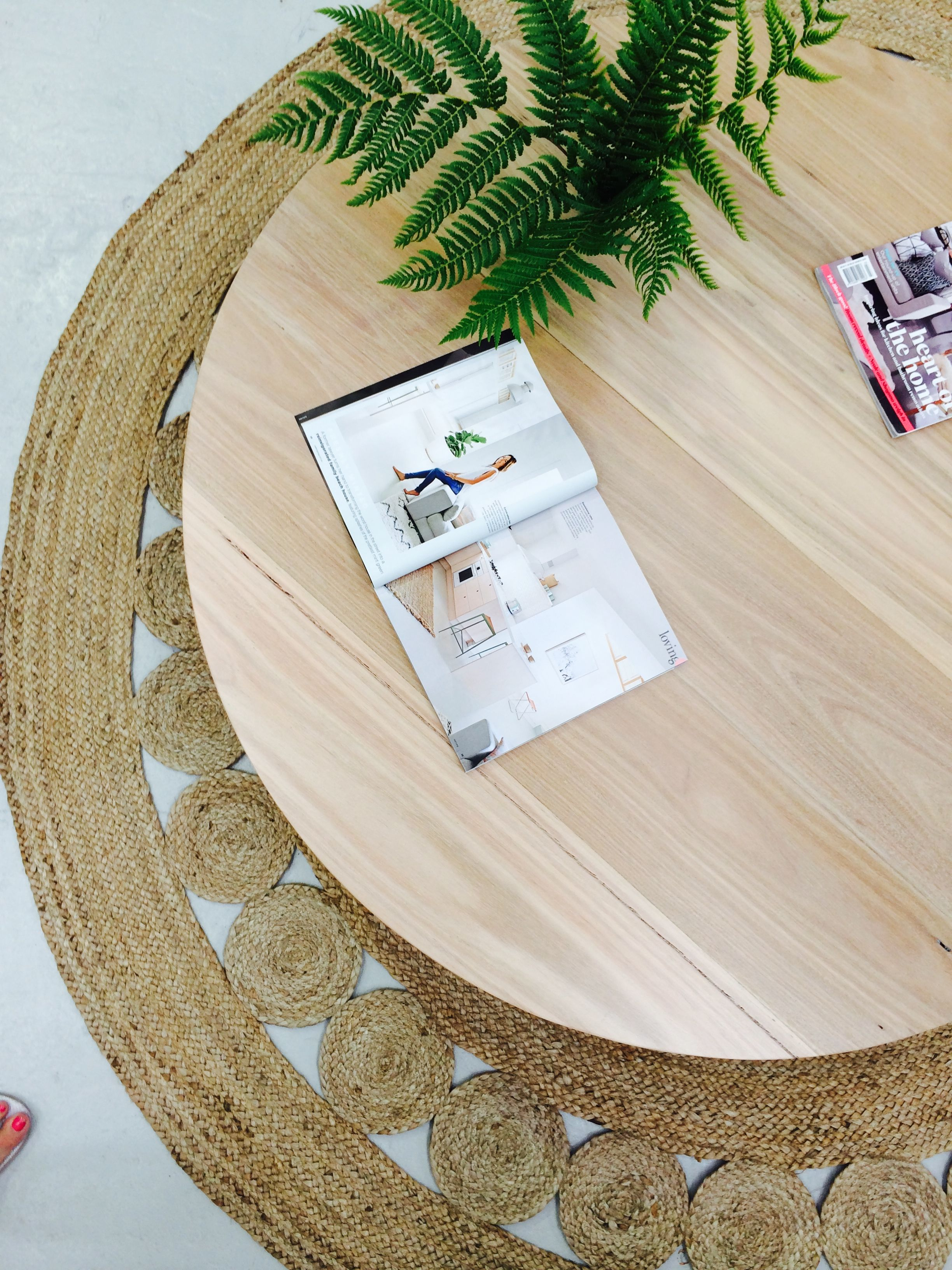 The Orbit Coffee Table   Low Line Solid Blackbutt In A 5% Lime Wash Finish