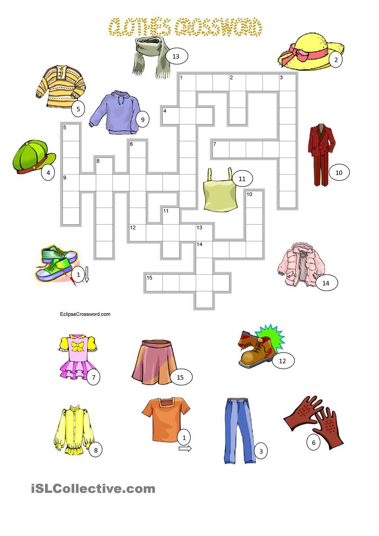 CLOTHES crossword + KEY Atividades de ingles, Infantil