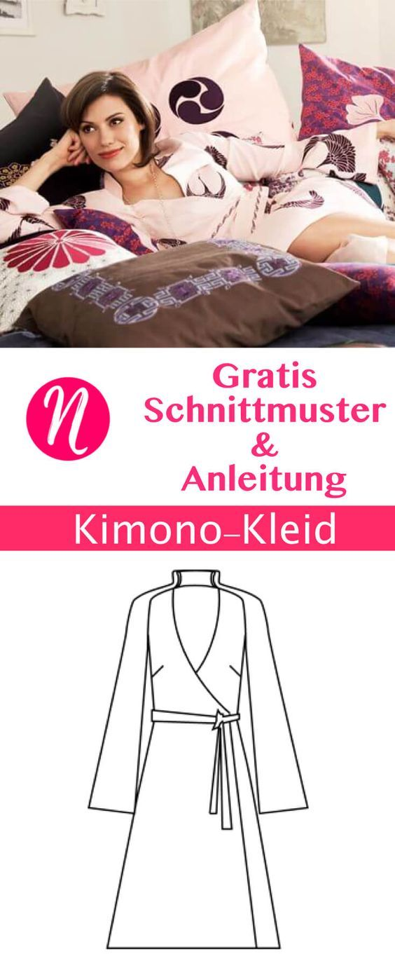 Wickelkleid - Kimono - Gratis Schnittmuster Gr. 34 - 46 | Nähtalente