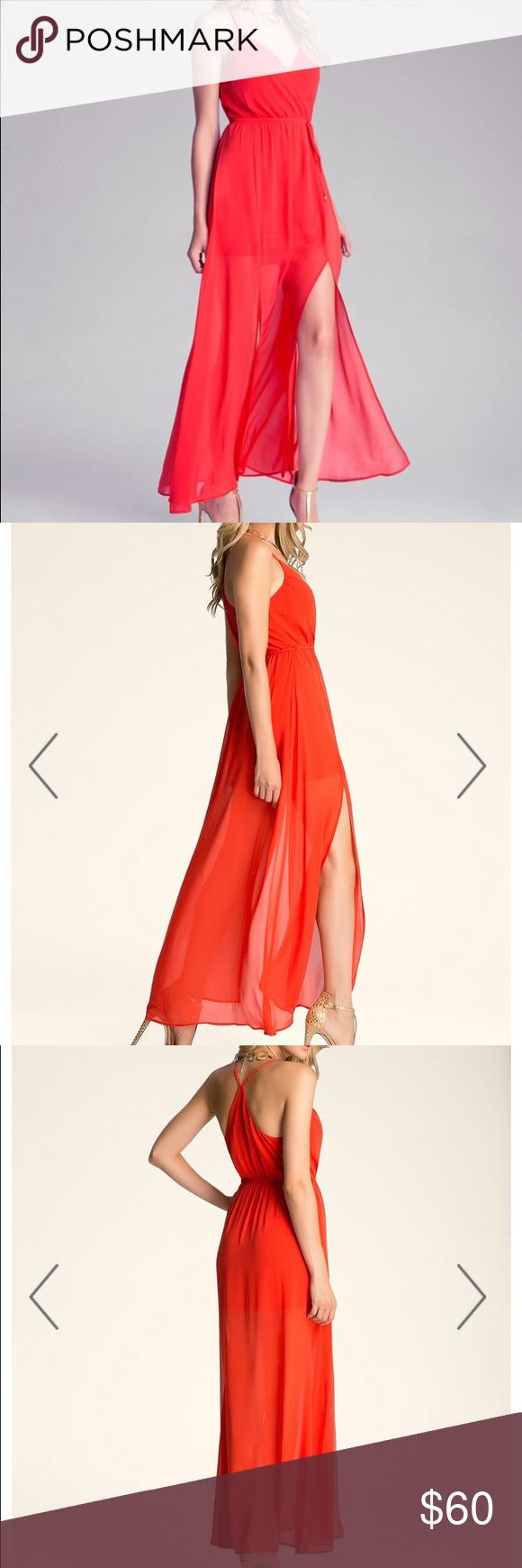 Bebe redorange chiffon dress size medium chiffon dress bebe and