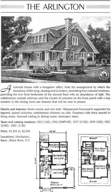Sears Arlington Aka 145 Vintage House Plans Cottages