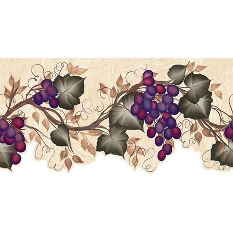451 1656 Grape Vine Decorative Border Grape Wallpaper Grape Decor Fruit Wallpaper
