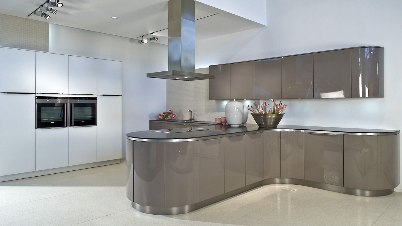 Beautifully White Themes German Kitchen Design Inspirations With Unique T Shaped Gray Base Kitche Curved Kitchen Kitchen Cabinets Prices Small Kitchen Cabinets
