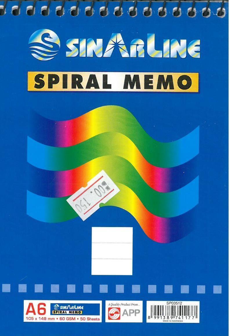 SinArline Spiral Memo A6 Memo, Notes, Books