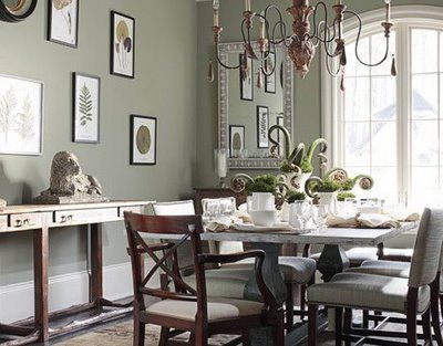 Benjamin Moore Color Creekside Green A Muted Sage Dining RoomGreen
