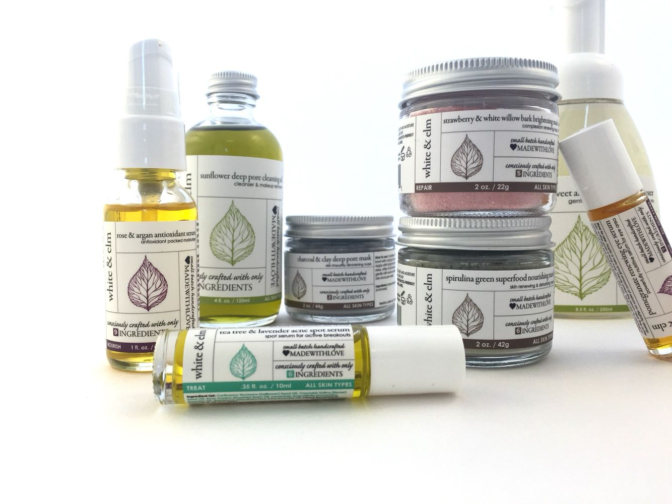 White & Elm facial products