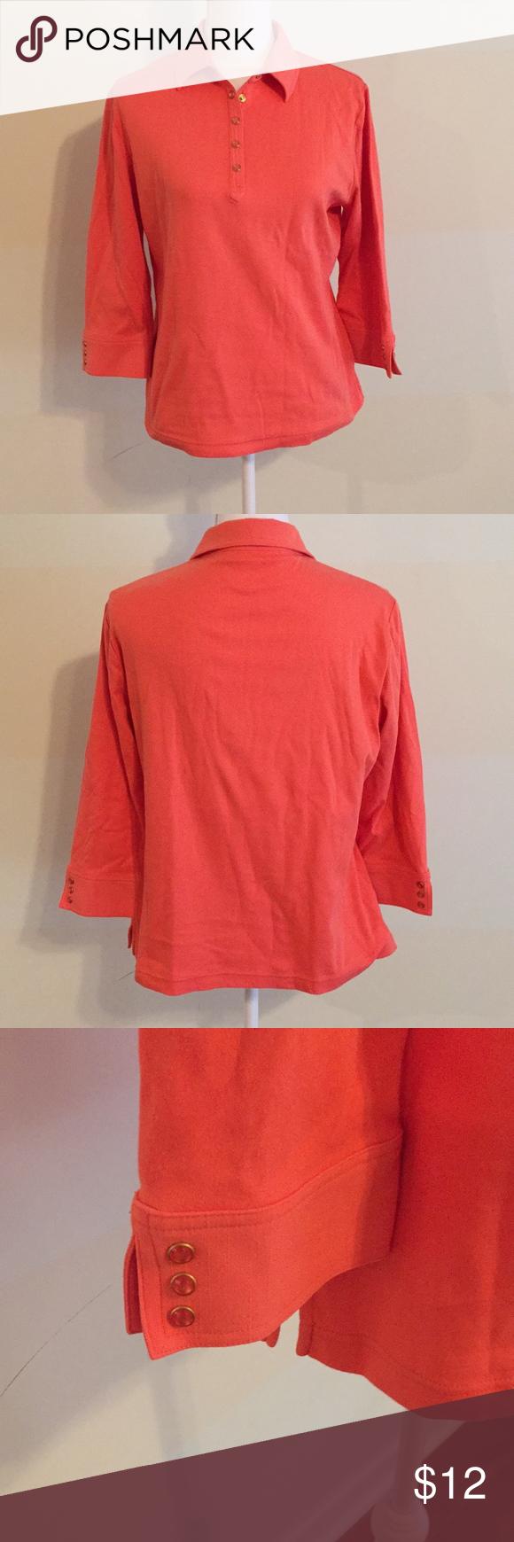 Cali York Polo Collared 34 Sleeve Coral Shirt In 2018 My Posh