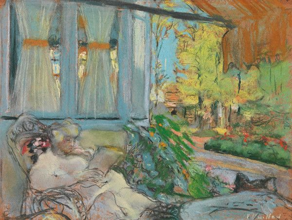 Madame Hessel Reading on the Terrace of Cezanne by Edouard Vuillard | Art Posters & Prints