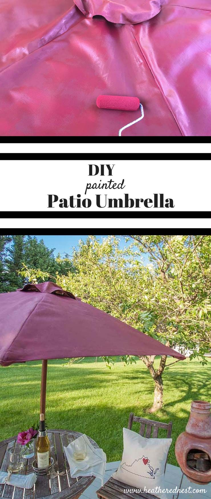 Never Would Have Thought To Try This Diy Umbrella Painting Painted Patio From Www Heatherednest