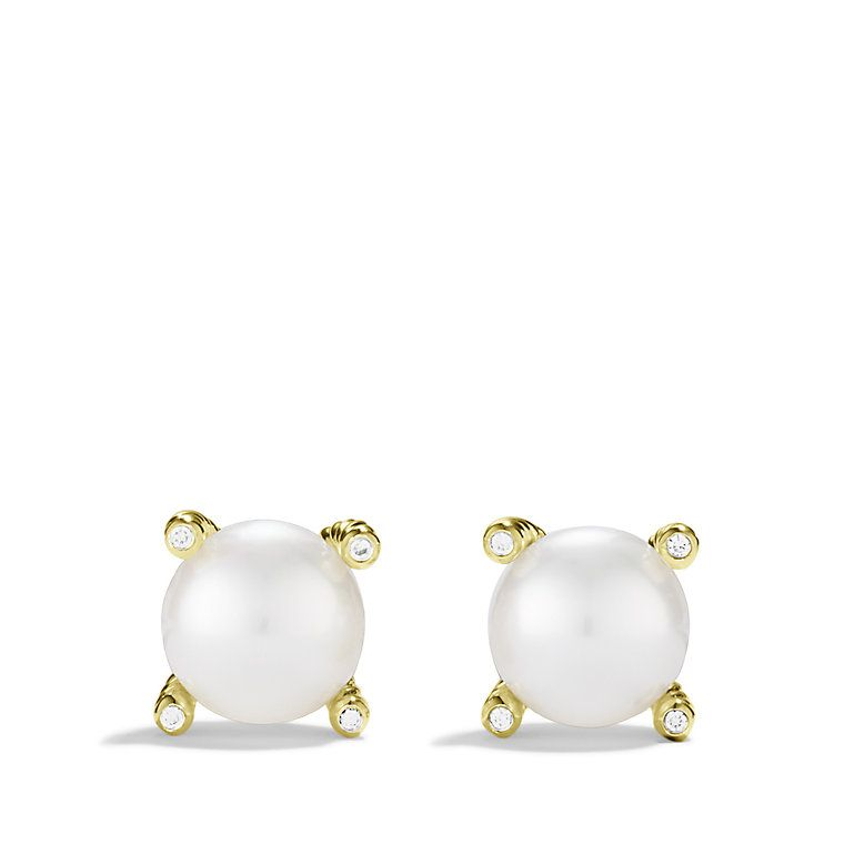 Pearl Earrings with Diamonds in Gold ($1100)