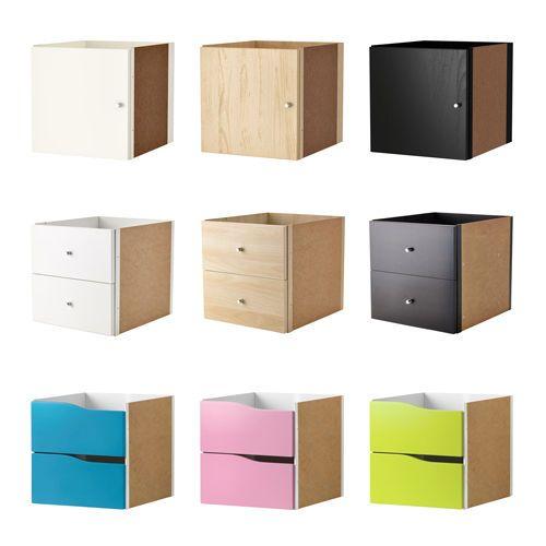 4x ikea kallax shelf rack insert with door or drawers for Fabric drawers ikea expedit