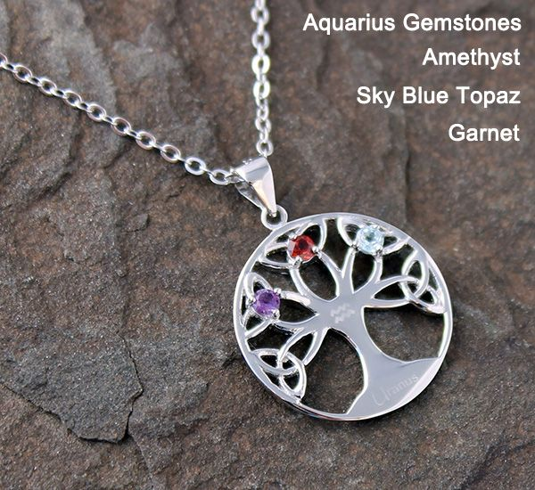 Fortune Tree - Sterling Silver Necklace For Zodiac Sign of Aquarius
