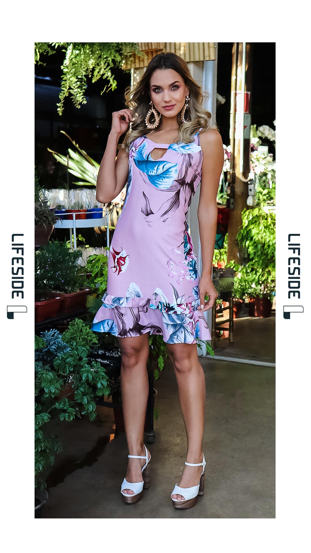 4f7bb1cd6 Vestido floral estampado. Vestido alegre. Vestido rosa. Vestido para ir em  festa de dia. #Vestido #Dress #Fashion #vestidoestampado