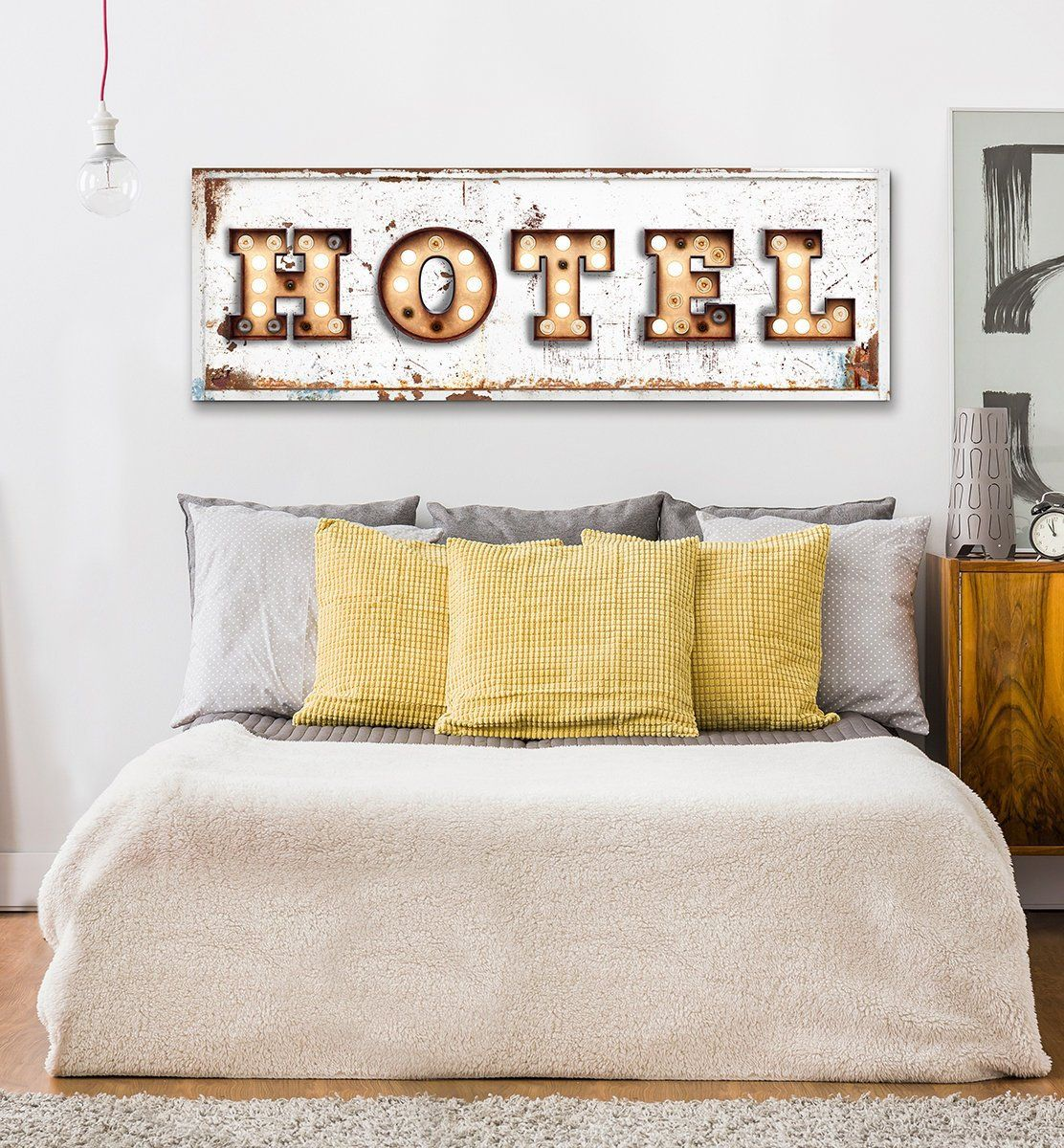 Hotel Sign Vintage Farmhouse Wall Decor Bedroom Wall Art Rustic Industrial Rustic Farmhouse Welcome Guest Room Large Canvas Sign Metal Motel Wall Decor Bedroom Bedroom Wall Farmhouse Wall Decor