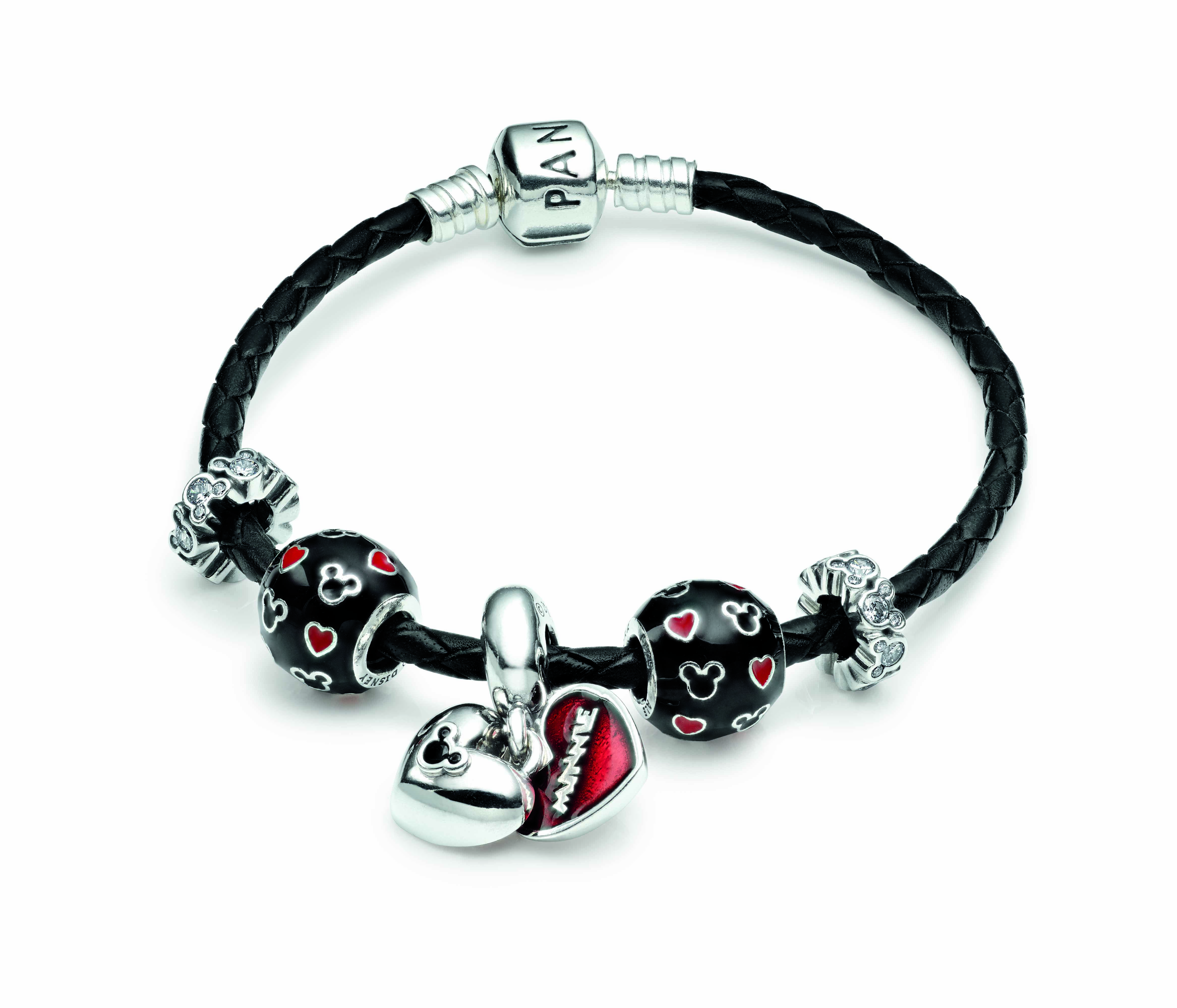 Black leather bracelet with Disney charms Black Red Silver
