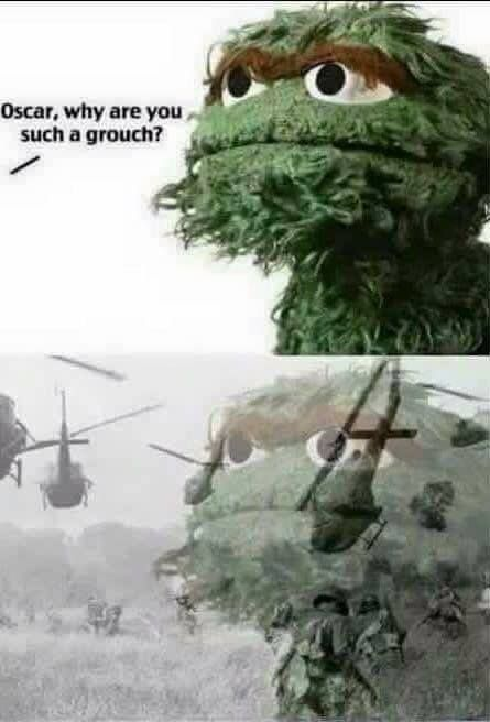 Oscar The Grouch Of Sesame Street Relives His Days In The Vietnam