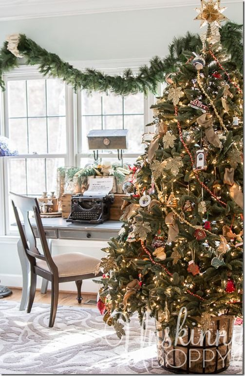 Pretty Christmas Tree in a basket- hides the base without a tree
